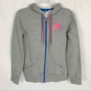 Adidas Gray Hooded Full Zip Sweatshirt Jacket Sz S